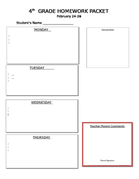 Weekly Homework Assignments Template