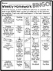 Weekly Homework Bingo (Common Core Aligned)