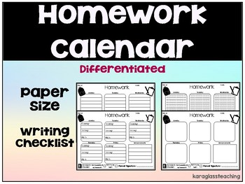 Weekly Homework Calendar - Differentiated