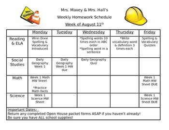 Weekly Homework Calendar for Students