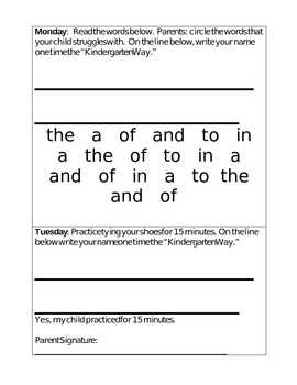 Weekly Homework Calendars for Kindergarten