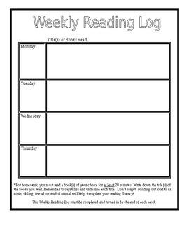 Weekly Homework Chart