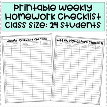 Weekly Homework Checklist 24 Students