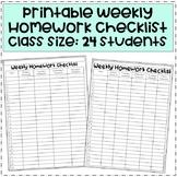 Weekly Homework Checklist 24 Students