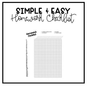 Weekly Homework Checklist