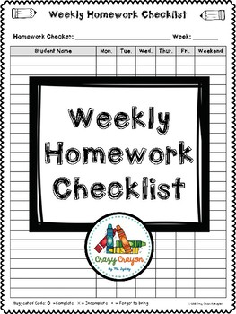 Weekly Homework Checklist