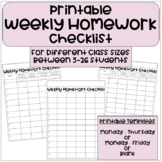 Weekly Homework Checklists For Different Class Sizes