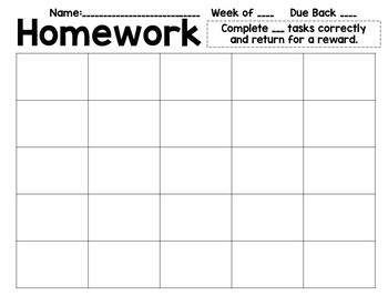 Weekly Homework Choices