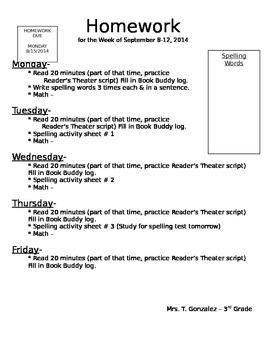 Weekly Homework Cover Sheet Template