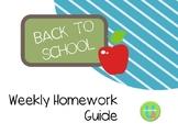 Weekly Homework Guide -- EDITABLE