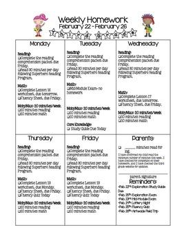 Weekly Homework Information Page