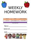 Weekly Homework Labels (Editable)