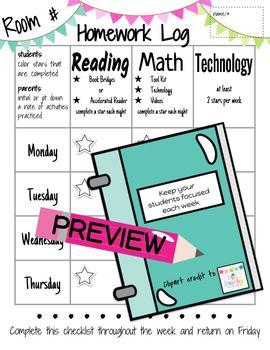 Weekly Homework Log including READING, MATH & TECHNOLOGY