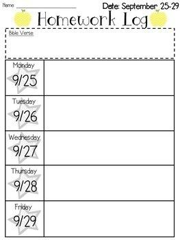 Editable Weekly Homework Logs 2016-2017