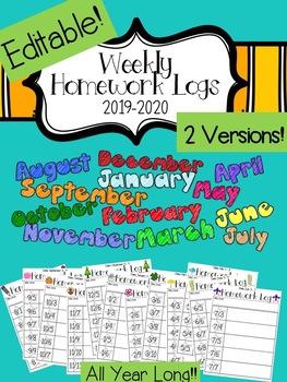 Editable Weekly Homework Logs 2017-2018