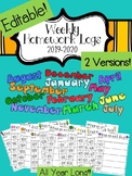 Editable Weekly Homework Logs 2018-2019