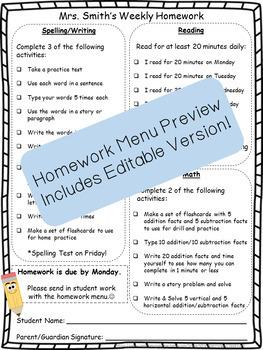Weekly Homework Menu Template