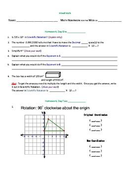 Weekly Homework - Mixed Math (4 Day)