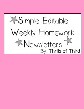 Weekly Homework Newsletter