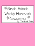 Weekly Homework Newsletter