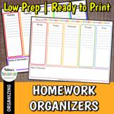 Weekly Homework Organizer