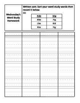 Ready to Go Weekly Homework Packet