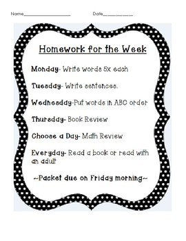 Weekly Homework Packet