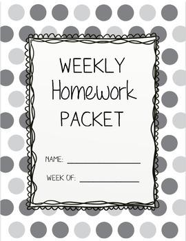 Weekly Homework Packet Cover