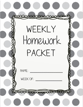 Weekly Homework Packet Cover