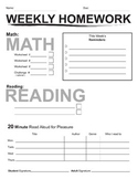 Weekly Homework Packet Cover Page Template Reading Log Assignment Reminders