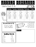 Weekly Homework Packet Cover Sheet