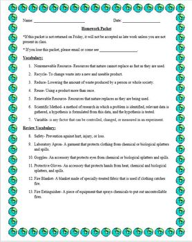 Weekly Homework Packet (Topic Resources)