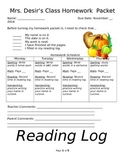 Weekly Homework Packet for Each Month of the School Year
