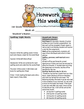 Weekly Homework Packet with Book Report Template Editable