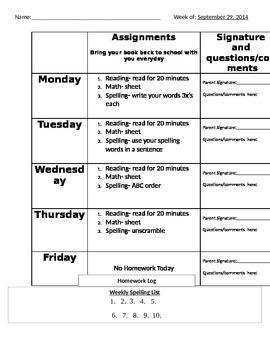 Weekly Homework Page