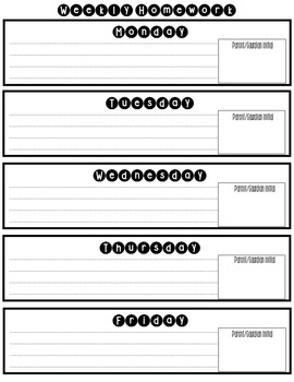 Weekly Homework Parent Sheet Editable and Non-Editable