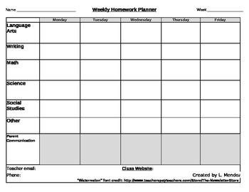 Weekly Homework Planner 2