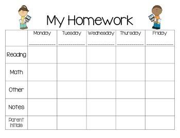 Weekly Homework Planner-School Theme