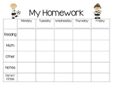 Weekly Homework Planner-Sports Theme