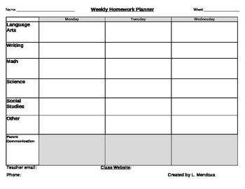 Weekly Homework Planner with Weekly Progress Report 3