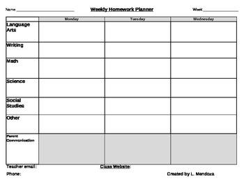 Weekly Homework Planner with Weekly Progress Report 3