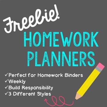 Weekly Homework Planners - Freebie!