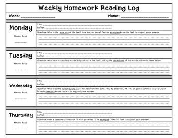 Weekly Homework Reading Log
