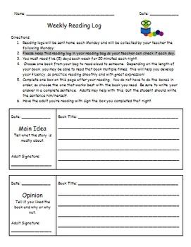 Weekly Homework Reading Log - Editable!
