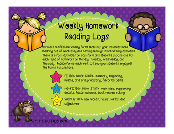 Weekly Homework Reading Log Forms With Writing Activities (3 Different Types!)