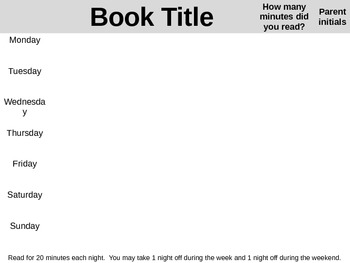 Weekly Homework Reading Log--LJ