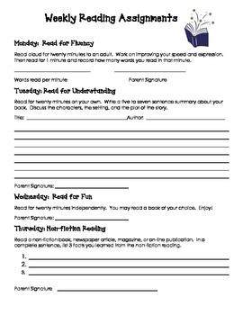 Weekly Homework Reading Log with Various Response Activities