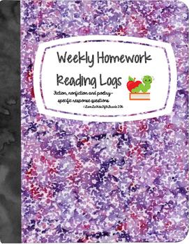 Nightly Homework Reading Logs (4 weeks!)