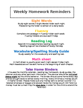 Weekly Homework Reminders - EDITABLE
