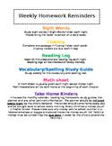 Weekly Homework Reminders - EDITABLE
